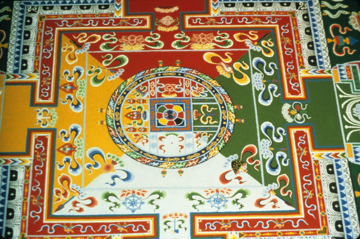 Sand mandala by Losang Samten, 'Wisdom,' colored sand, 5' in circumference, University of Pennsylvania Museum, 1989, courtesy Losang Samten