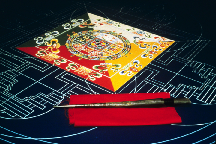 Sand mandala (detail) by Losang Samten, 'Wisdom,' colored sand, 5' in circumference, University of Pennsylvania Museum, 1989, courtesy Losang Samten