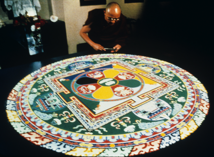 Sand mandala by Losang Samten, 'Compassion,' colored sand, 6' in circumference, Miami-Dade City College 1990, courtesy Losang Samten
