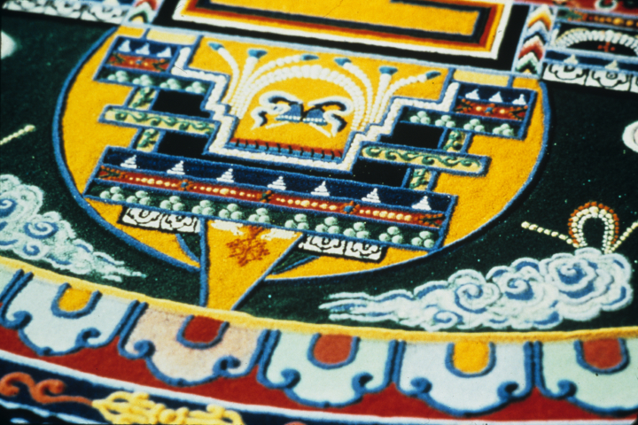 Sand mandala (detail) by Losang Samten, 'Compassion,' colored sand, 6' in circumference, Miami-Dade City College 1990, courtesy Losang Samten