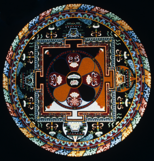 Sand mandala by Losang Samten, 'Compassion' (overhead view), colored sand, 6' in circumference, Miami-Dade City College 1990, courtesy Losang Samten