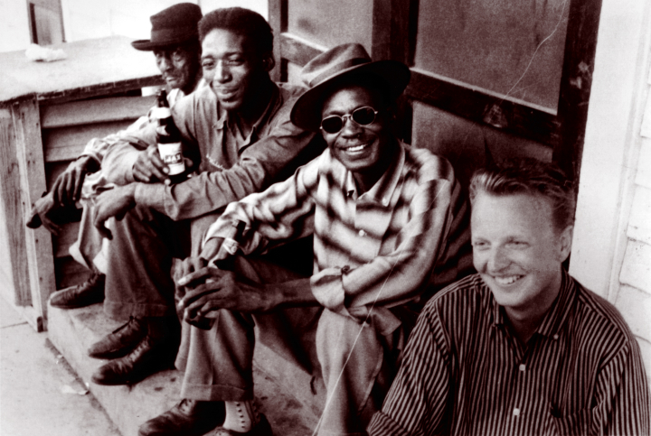 "Left to right: unknown, Luke ""Long Gone"" Miles, Lightnin' Hopkins and Chris Strachwitz, Houston, Texas, 1959, courtesy Chris Strachwitz"