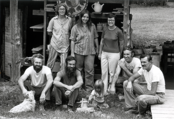 Nancy Sweezy with students and apprentices at Jugtown, North Carolina, ca. early 1970s, courtesy Nancy Sweezy