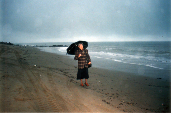 Nancy Sweezy on a Los Angeles area beach, 1997, courtesy Nancy Sweezy