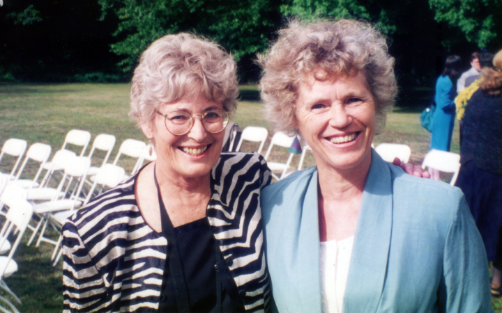 Nancy Sweezy with Lena Trausik in Wilton, New Hampshire for granddaughter's wedding, 1999, courtesy Nancy Sweezy