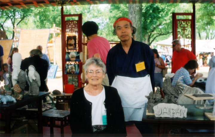 Nancy Sweezy with a featured Japanese folklife potter at the Silk Road Festival, Washington D.C., 2002, courtesy Nancy Sweezy