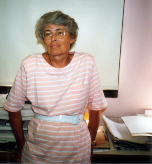 Nancy Sweezy in the Refugee Arts office Brighton, Massachusetts, ca. early 1990s, courtesy Nancy Sweezy