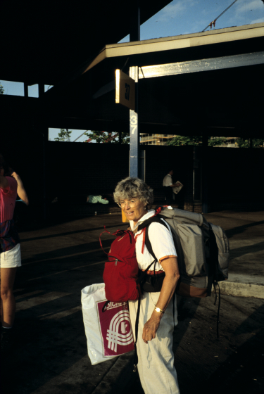 Nancy Sweezy on her way to Scotland, 1993, courtesy Nancy Sweezy
