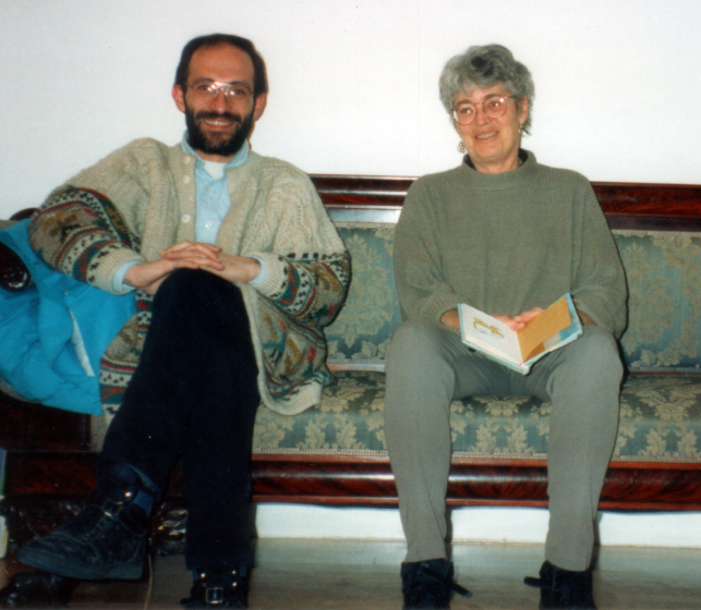 Nancy Sweezy with Adam Sharambegian after conferring about marketing in America, Arlington, Massachusetts, 1994, courtesy Nancy Sweezy