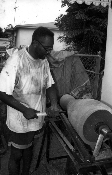 Ezequiel Torres making a drum, courtesy National Endowment for the Arts