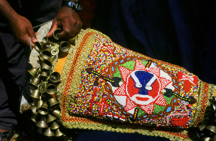 Beaded *bante* (*batá* drum cover) made by Ezequiel Torres, courtesy National Endowment for the Arts