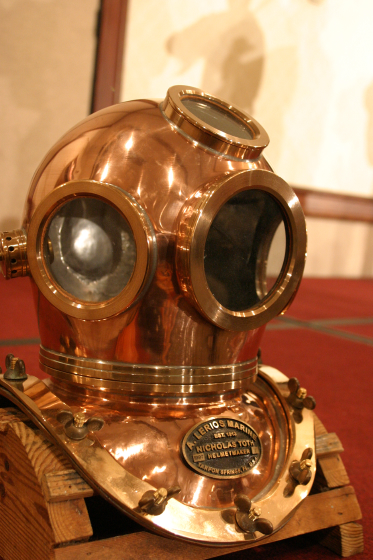 One of Nicholas Toth's diving helmets, 2003 National Heritage Fellowship Concert, Arlington, Virginia, photograph by Jim Saah, courtesy National Endowment for the Arts