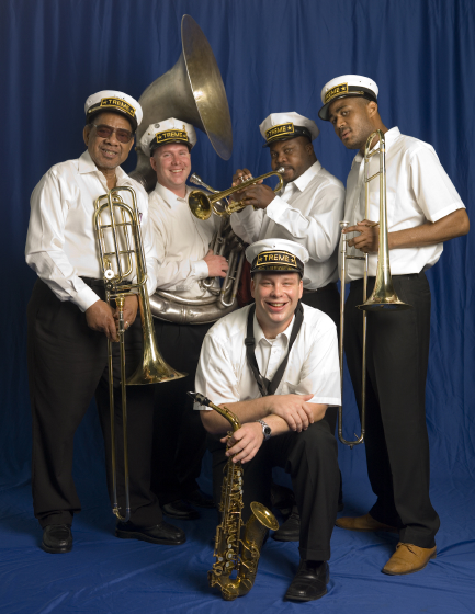 Front, left to right: Eddie King, Charles Brackman, Kenneth Terry, Glen David Andrews; kneeling: Bruce Brackman, Bethesda, Maryland, 2006, photograph by Alan Govenar