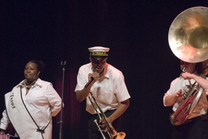 Left to right: Alana Jones, Glen David Andrews, Charles Brackman, 2006 National Heritage Fellowship Concert, Strathmore Music Center, North Bethesda, Maryland, photograph by Alan Hatchett