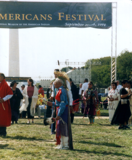 Fred Tsoodle dancing at the National Museum of the American Indian, Washington, D.C., 2004, courtesy Fred Tsoodle