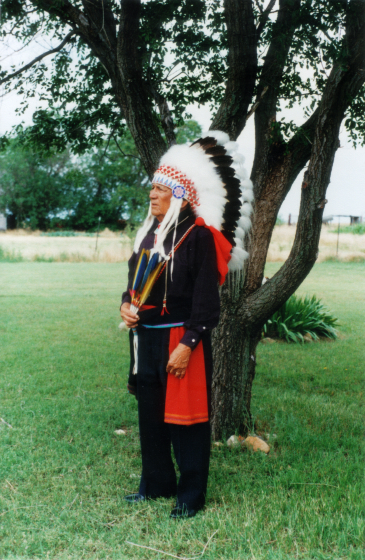 Fred Tsoodle dressed as a Kiowa gourd dancer on his farm, Mountain View, Oklahoma, 2001, courtesy Fred Tsoodle