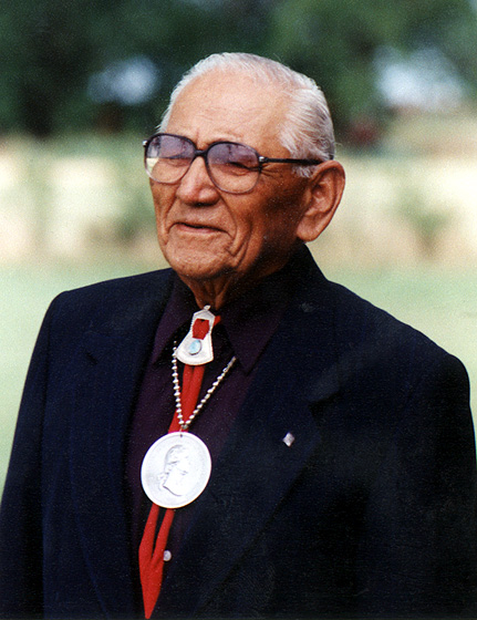 Fred Tsoodle wearing the President George Washington Peace Medal awarded to him, courtesy Fred Tsoodle