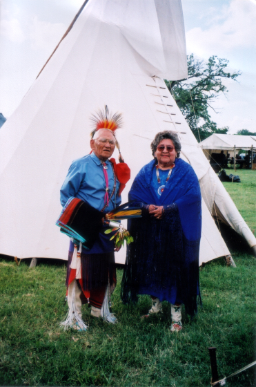 Fred and Mary Ruth Tsoodle at a Kiowa Gourd Clan Celebration, July 4, 2004, courtesy Fred Tsoodle