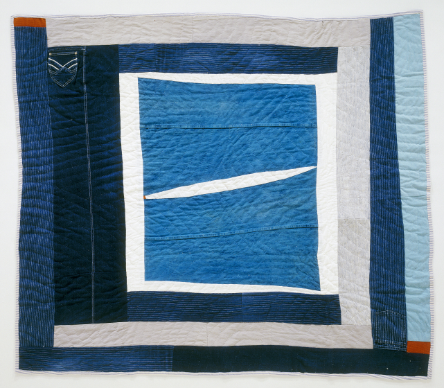 "'Bell-bottom Medallion,' pieced by Arbie Williams, quilted by Irene Bankhead, Oakland, California, 1991, 67""x74."" Front: denim (from pants), corduroy, cotton twill. Back: cotton broadcloth. Courtesy Eli Leon"