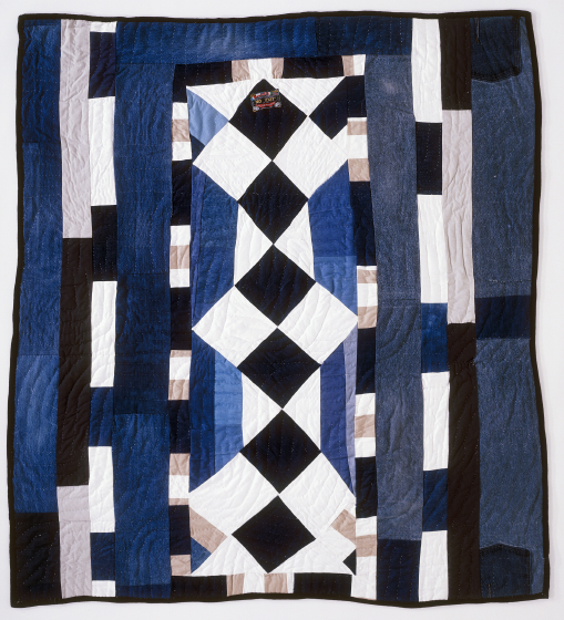 "Four-patch 'Britches' strip. Pieced by Arbie Williams, Oakland, California, 1992, quilted by Willia Ette Graham and Johnnie Wade, Oakland, California, 1993, 72""x77"", courtesy Eli Leon"