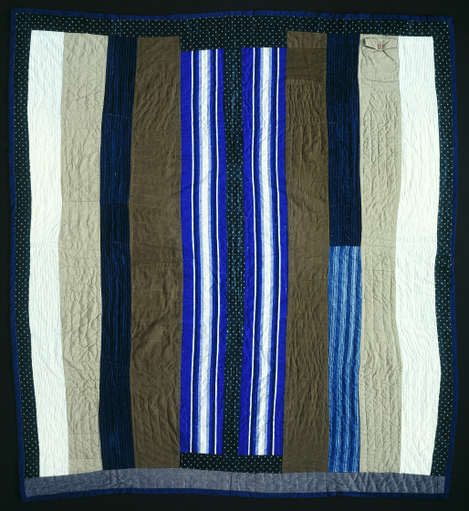 "Palindromic 'Britches' strip. Pieced by Arbie Williams, quilted by Irene Bankhead, Oakland, California, 1991, 71""x78"", courtesy Eli Leon"